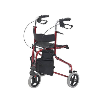 Tri-walker walking aid with seat - Red