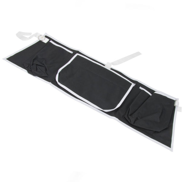 The image shows the Walking Zimmer Frame Apron Bag laid flat to show the three pocket sections and ties.