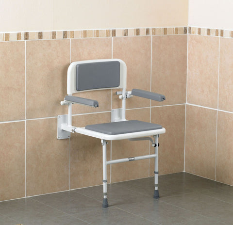 Wall-Mounted-Shower-Seat-with-Back-and-Arms White and grey