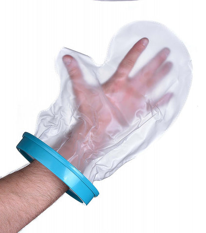 Image shows waterproof cast and bandage protector on a hand.