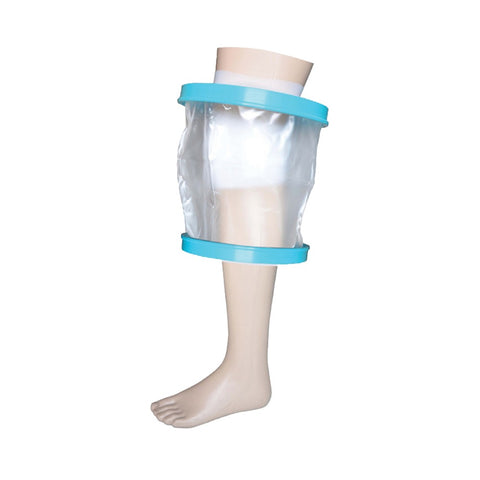 image shows waterproof cast and bandage protector for knee
