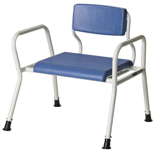 the image shows the bariatric shower bench and bedside commode
