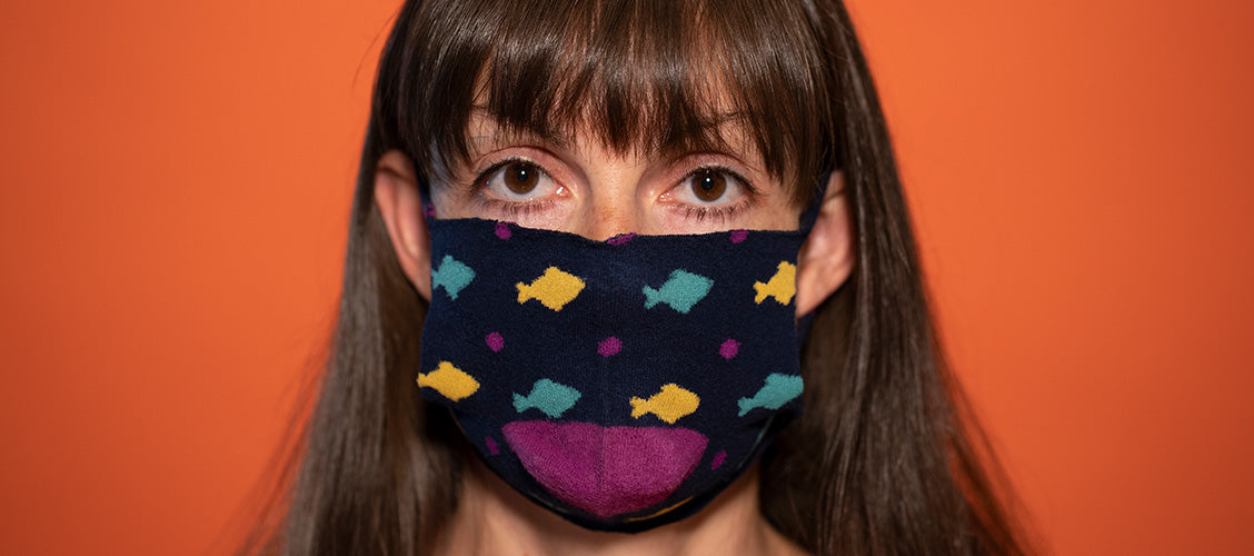 Face wearing a sock face mask - How to Make a Sock Face Mask