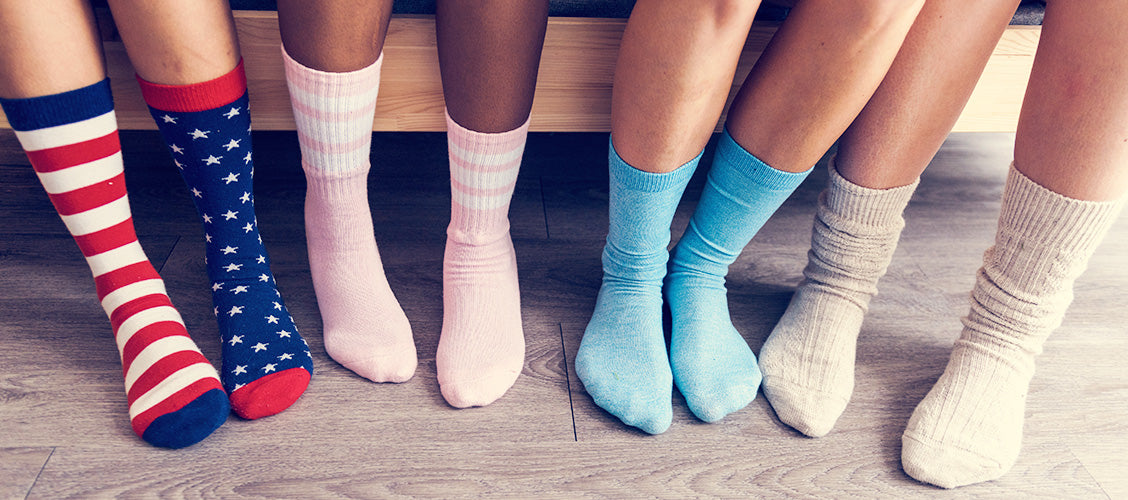Group of kids wearing different colored crew socks - Types of Socks