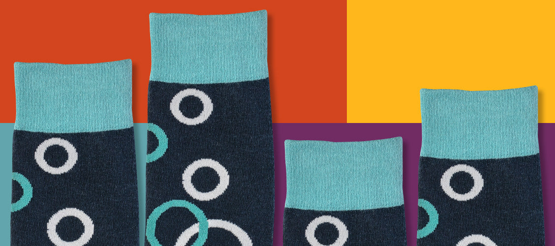 Patterned socks of different lengths on colorful background - Types of Socks