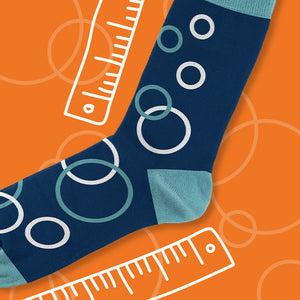 Blue bubble socks with a hand-drawn ruler - Goldie Socks