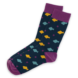 Purple Fish Socks