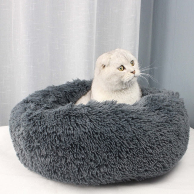 Round Long Plush Cat Bed