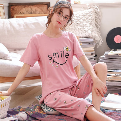 Summer Cartoon Cotton Pajamas Set Women