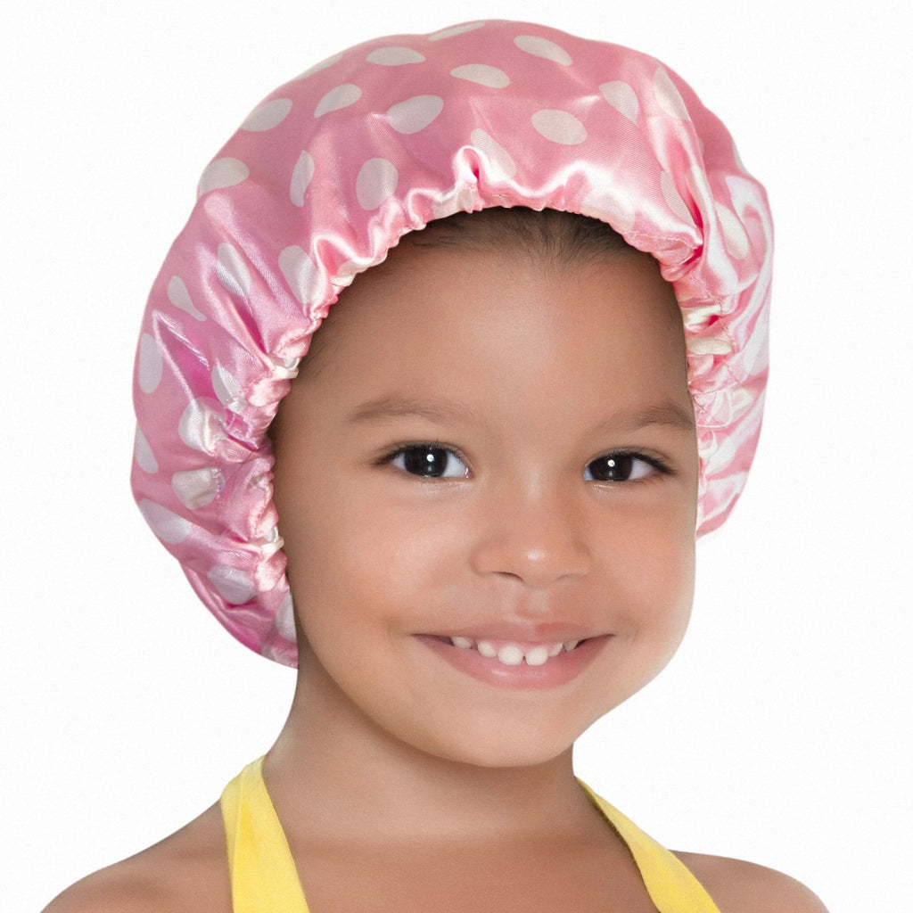 Pinky Promise Kids' Satin Bonnet (Pink/White Dots)