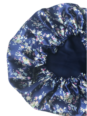 Navy Thai Satin Bonnet - glow-by-daye