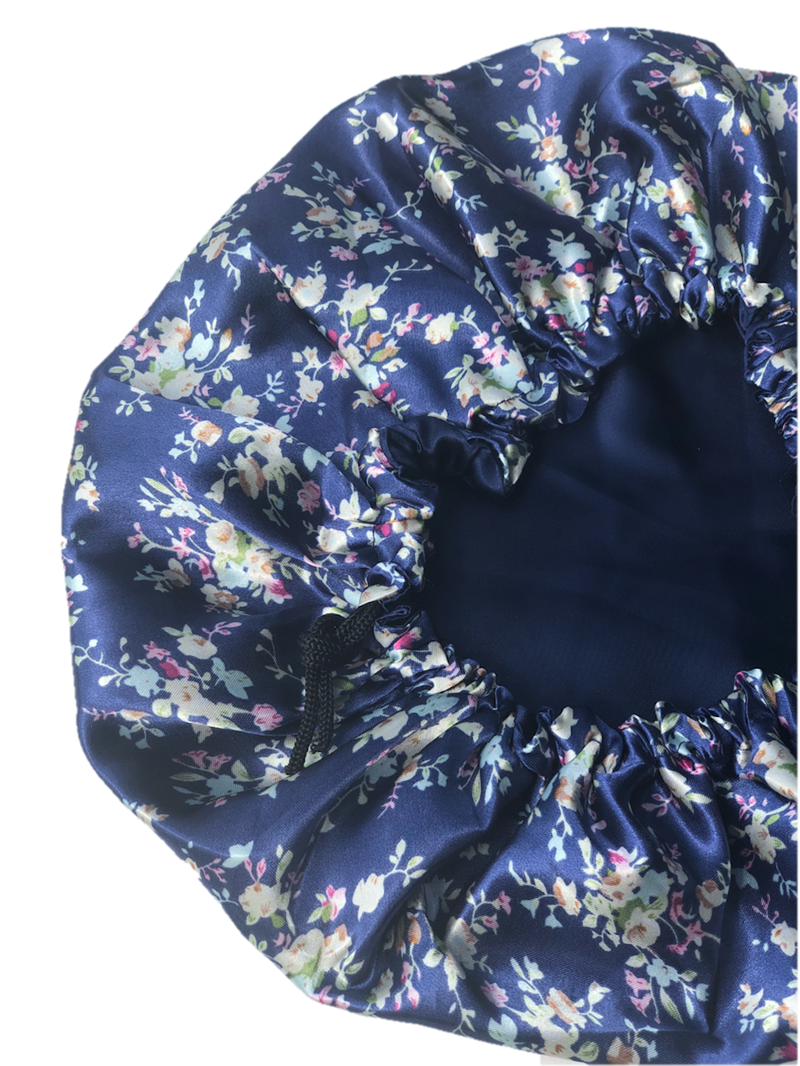 Navy Thai Satin Bonnet - Glow by Daye