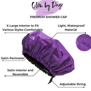 """Purple Rain"" Satin Lined Shower Cap - Glow by Daye"