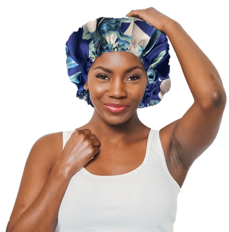 St. Lucia Navy Satin Bonnet
