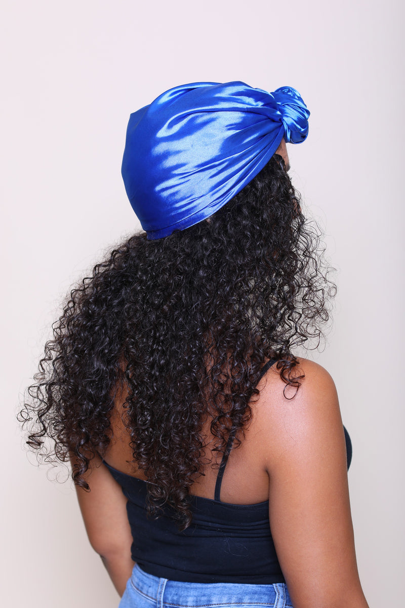 Imperial Blue Pre-Folded Charmeuse Stretch Satin Scarf