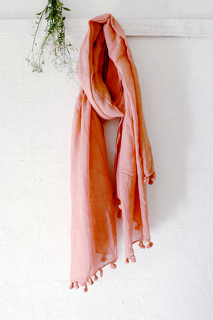 Naturally dyed handwoven cotton scarf