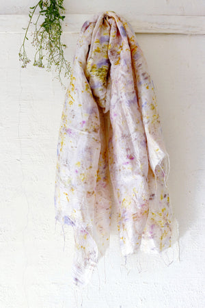Naturally dyed handwoven silk scarf