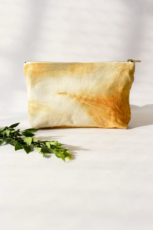 Naturally dyed medium toiletry canvas pouch