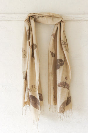 Guava Leaf Silk & Cotton Olive Scarf