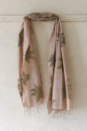 Castor Leaf Silk & Cotton Pink Scarf