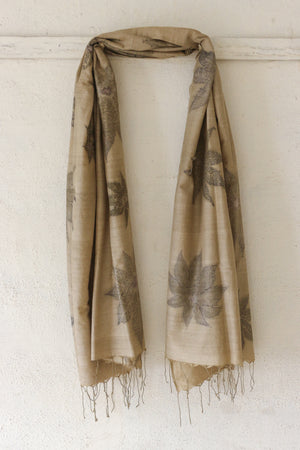 Castor Leaf Silk & Cotton Olive Scarf