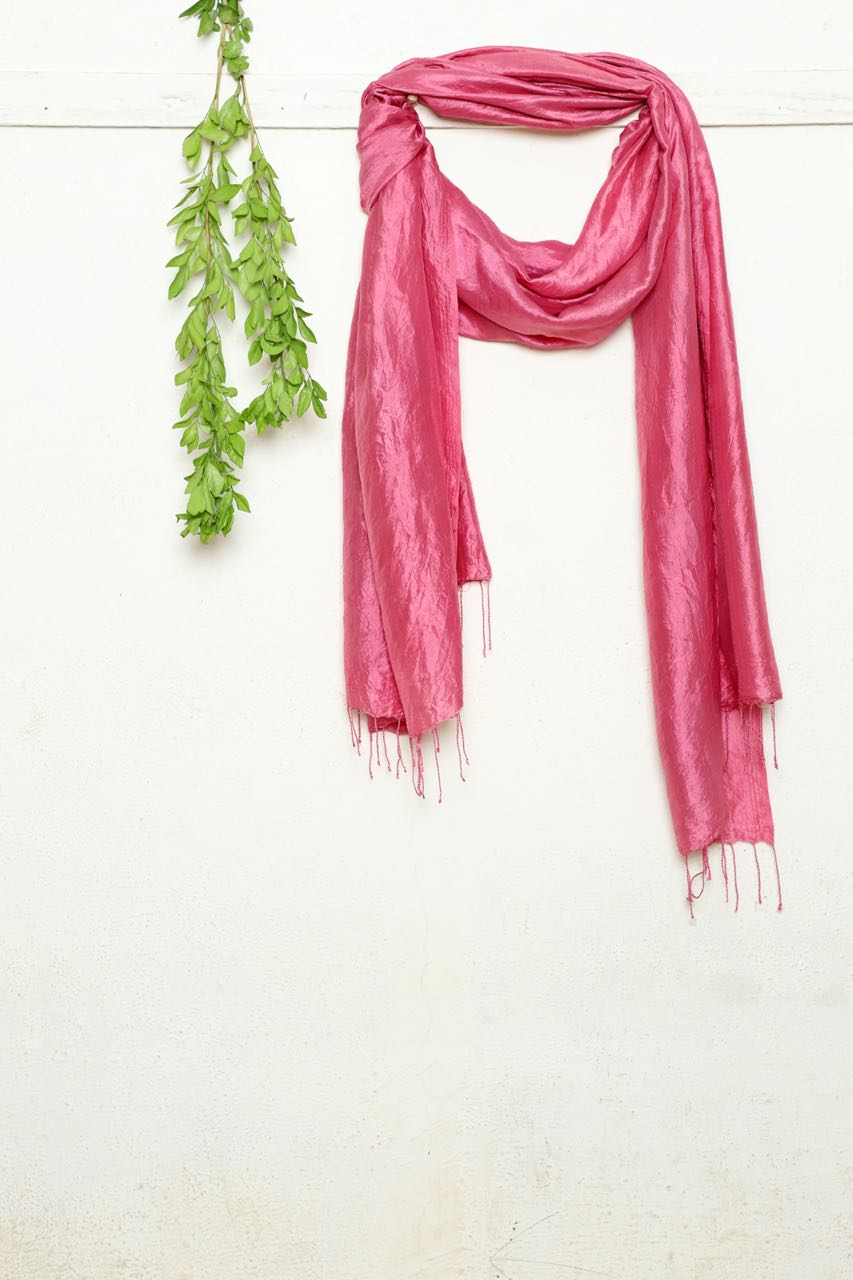 Pink Lac Scarf - naturally dyed