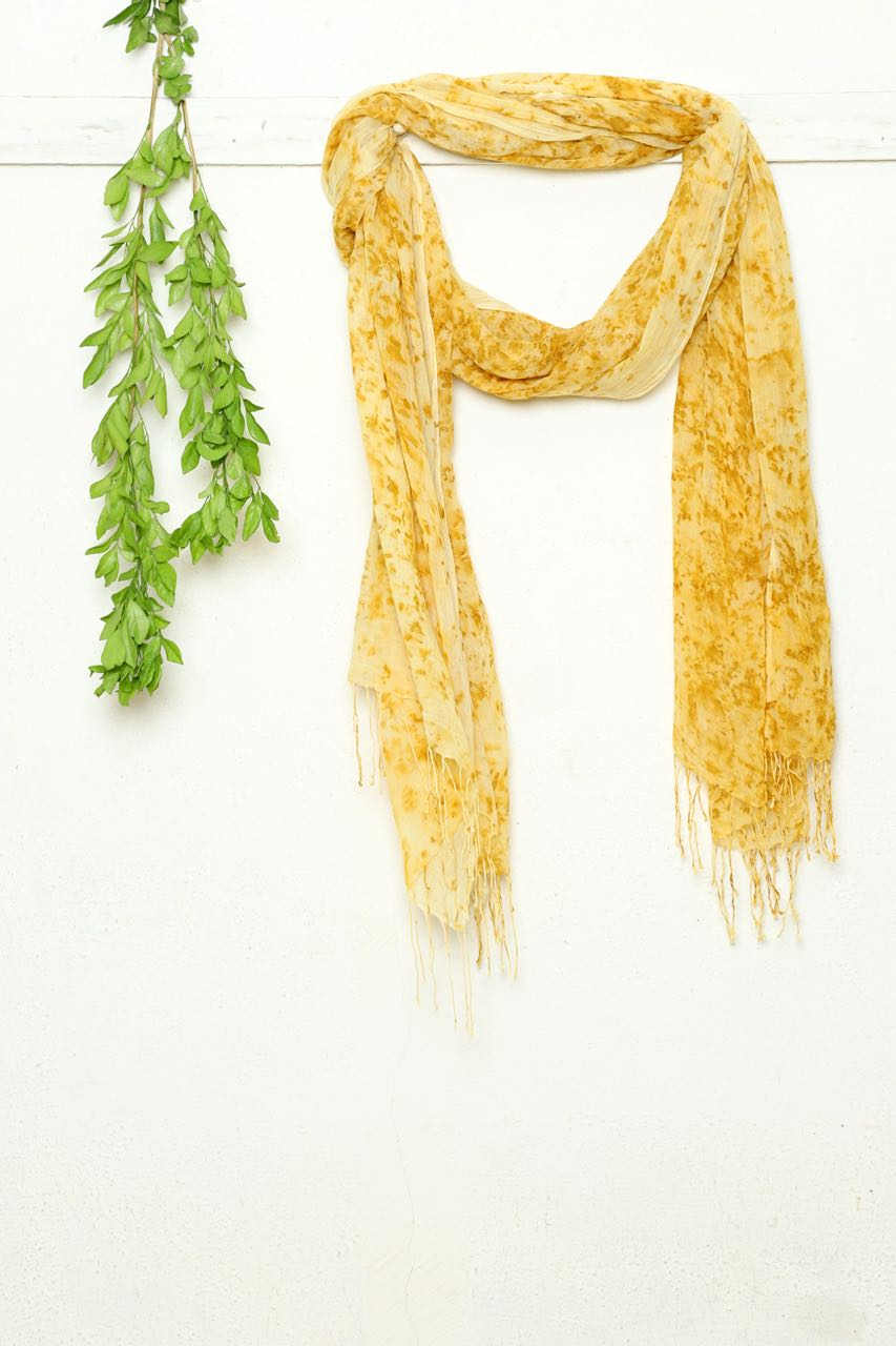 Yellow Marigold Scarf - naturally dyed