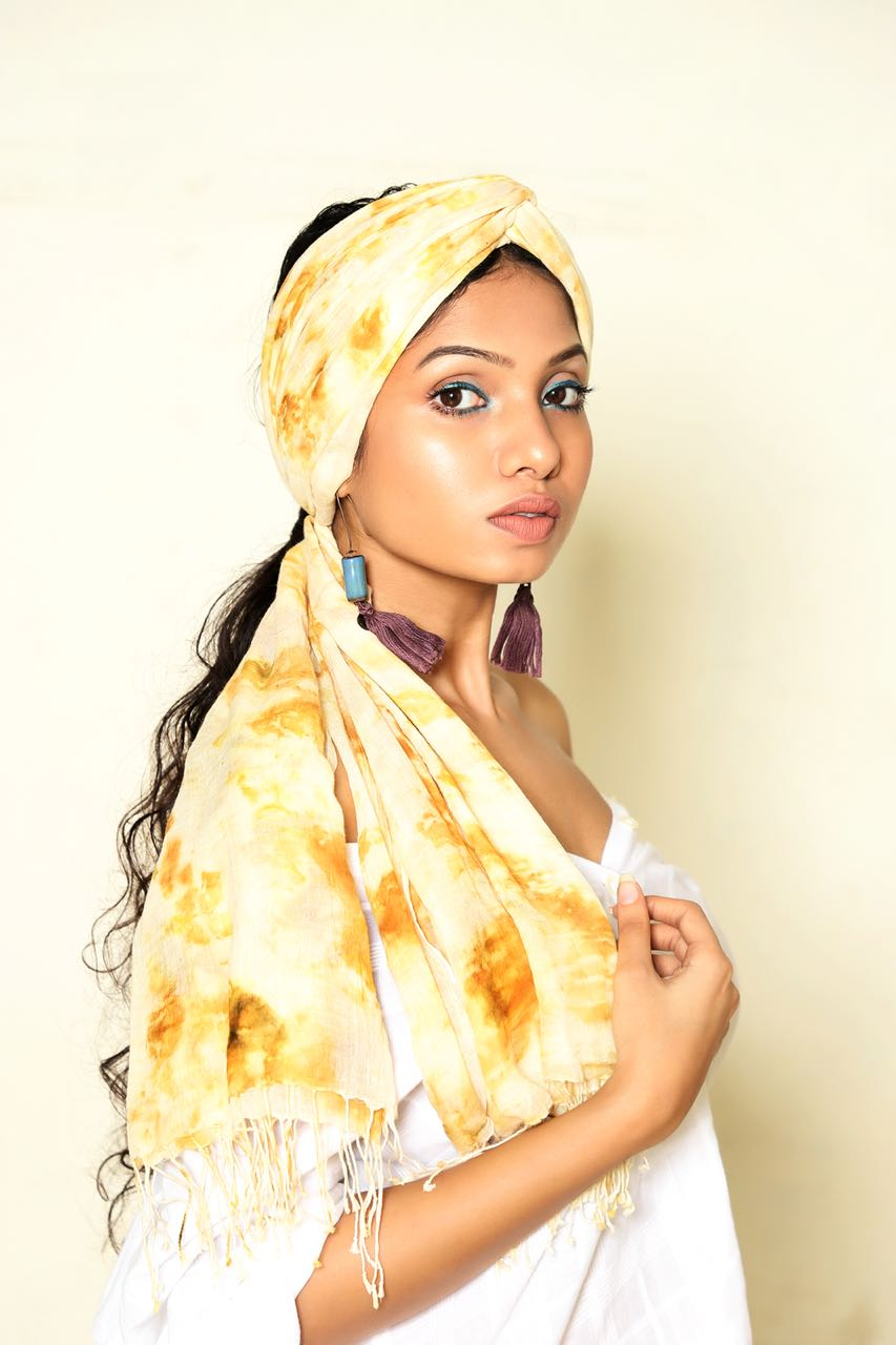 Yellow Onion Skin Scarf - naturally dyed