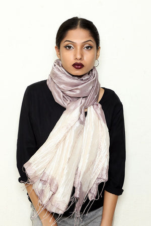 Lilac Grey Shibori Scarf - naturally dyed