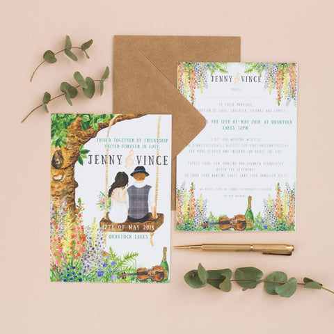 """79bf156f95236 """"Absolutely stunning designs for our wedding invitations. Ellie was able to  meet every request and more! She kept us well informed with regular contact  and ..."""
