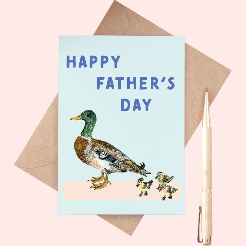 Happy Father's Day Duck Illustrated Greeting Card