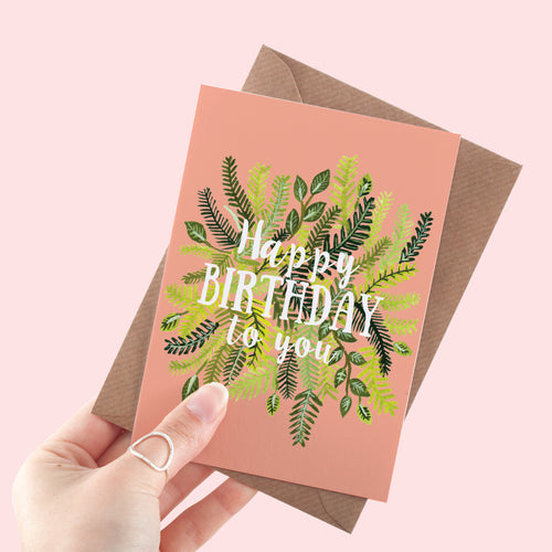 Pink Foliage Happy Birthday Card