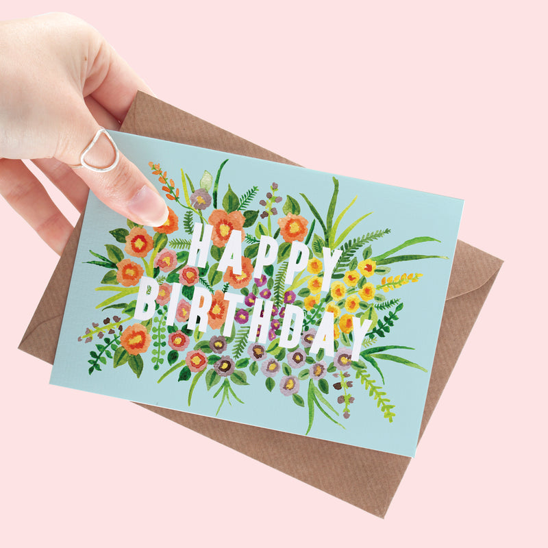 Floral Happy Birthday A6 Card