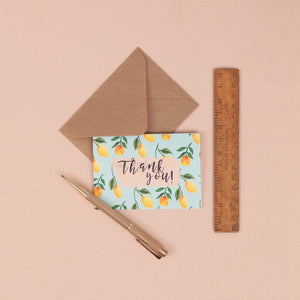 Set of 6 Mini Patterned Thank you Cards - A7