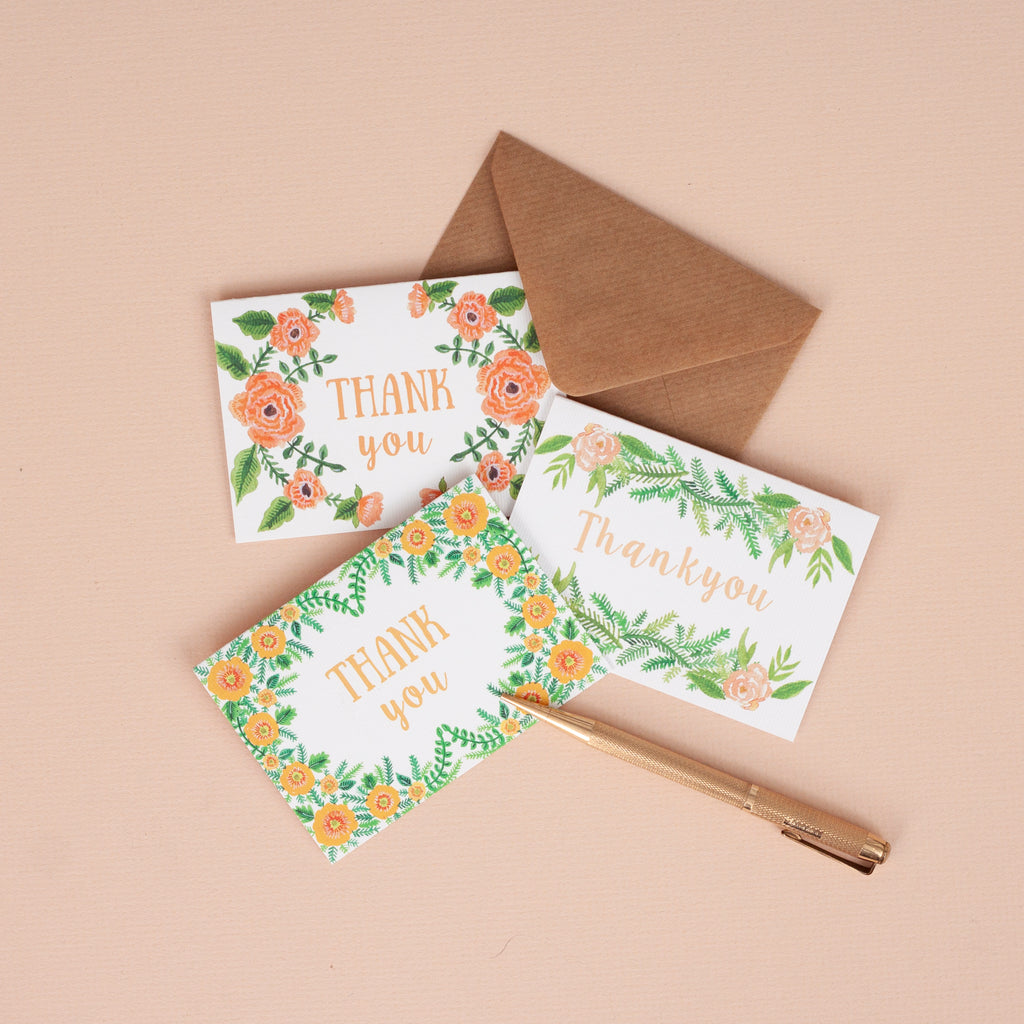 Set of 6 Mini Floral Thank you Cards - A7