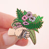 Flower Bunch & Hand Hard Enamel Pin Badge