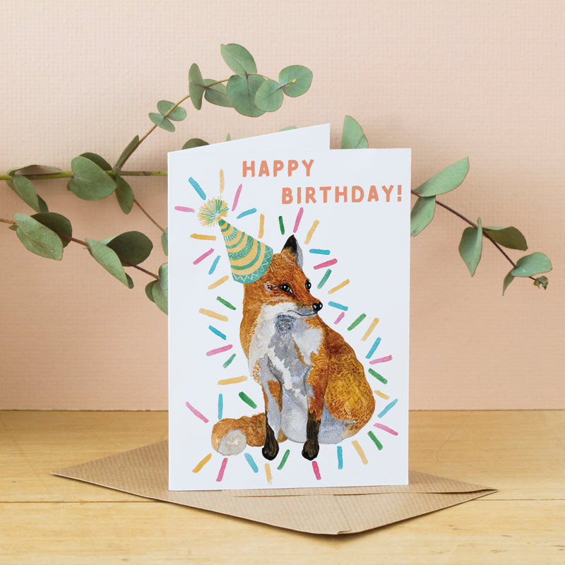 Happy Birthday Card - Party Fox