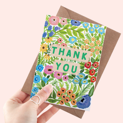 Floral Pattern Thank You Card