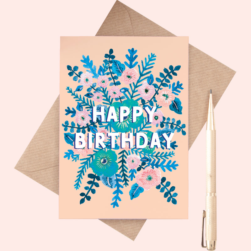 Happy Birthday Leafy Flower Print Card