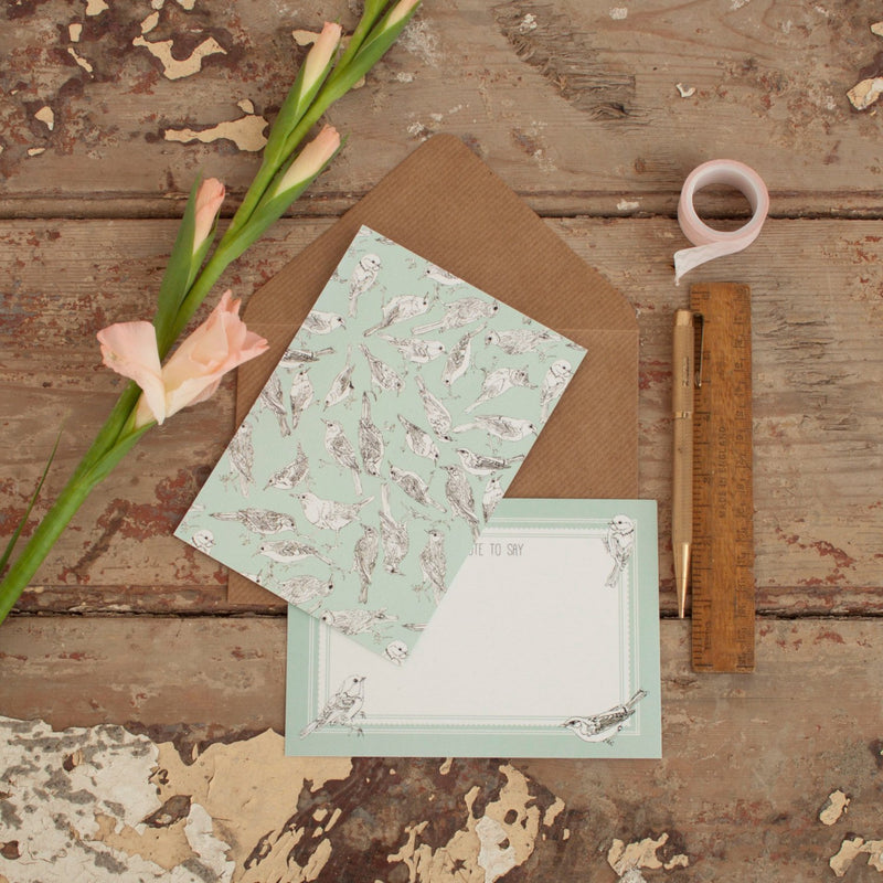 Bird Pattern Notelet Pack - Set of 6
