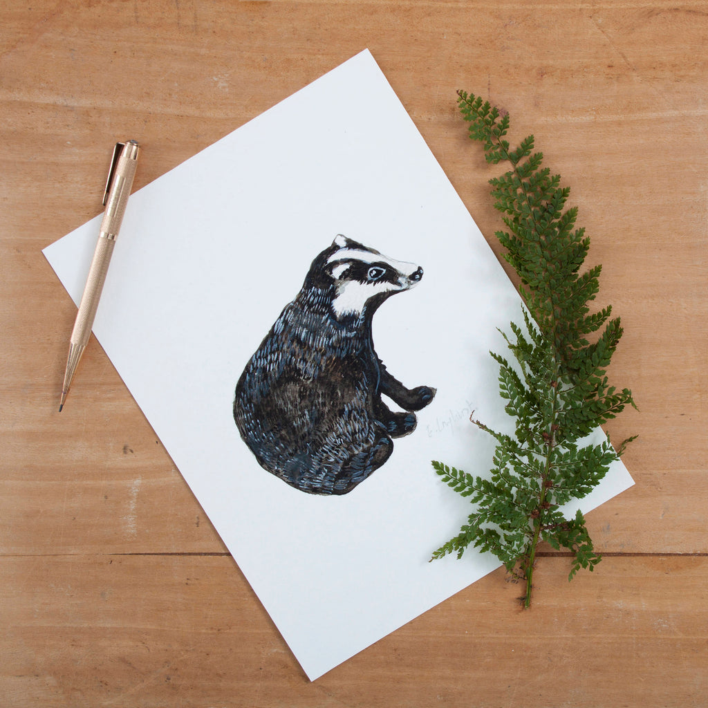 Badger Illustrated Giclée Print - 18 x 24 cm