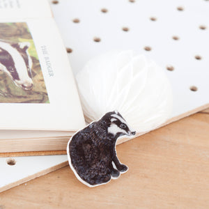 Badger Illustrated Shrink Plastic Resin Brooch