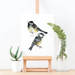 Coal Tit Illustrated Giclée Print - 18 x 24 cm