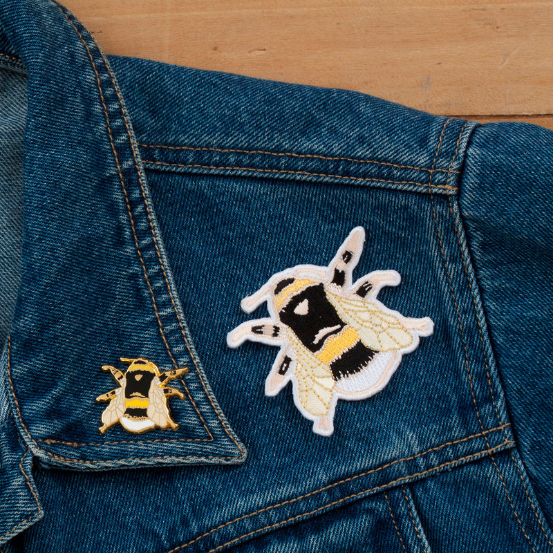 British Bee Embroidered Iron-on Patch