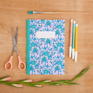 Lilac Floral Pattern A5 Notebook
