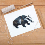 British Badger Illustrated Giclée Print - 18 x 24 cm