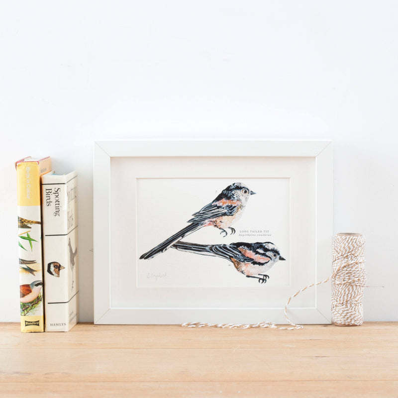 Long Tailed Tit Illustrated Giclée Print - 18 x 24 cm