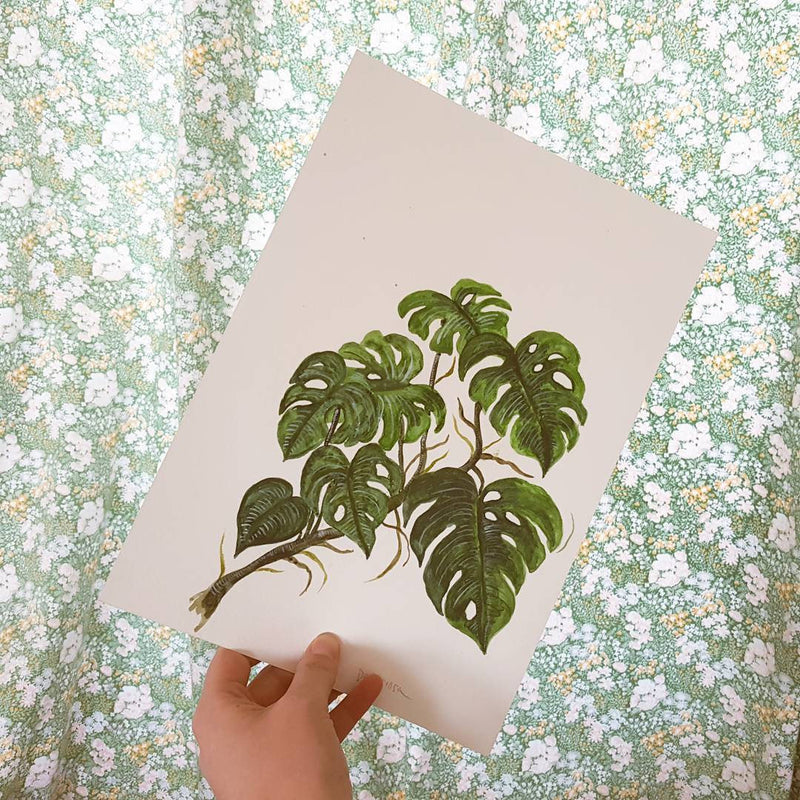 Monstera Illustrated Digital Print - A4
