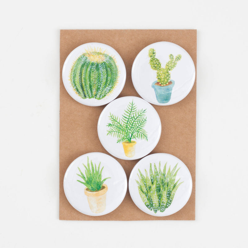 Cacti & Succulents Fridge Magnet Set  - Pack Of 5