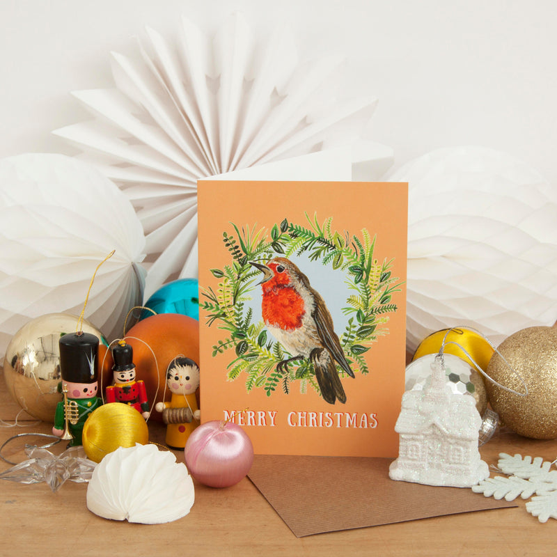 Robin Wreath Christmas Card - Pack of 4